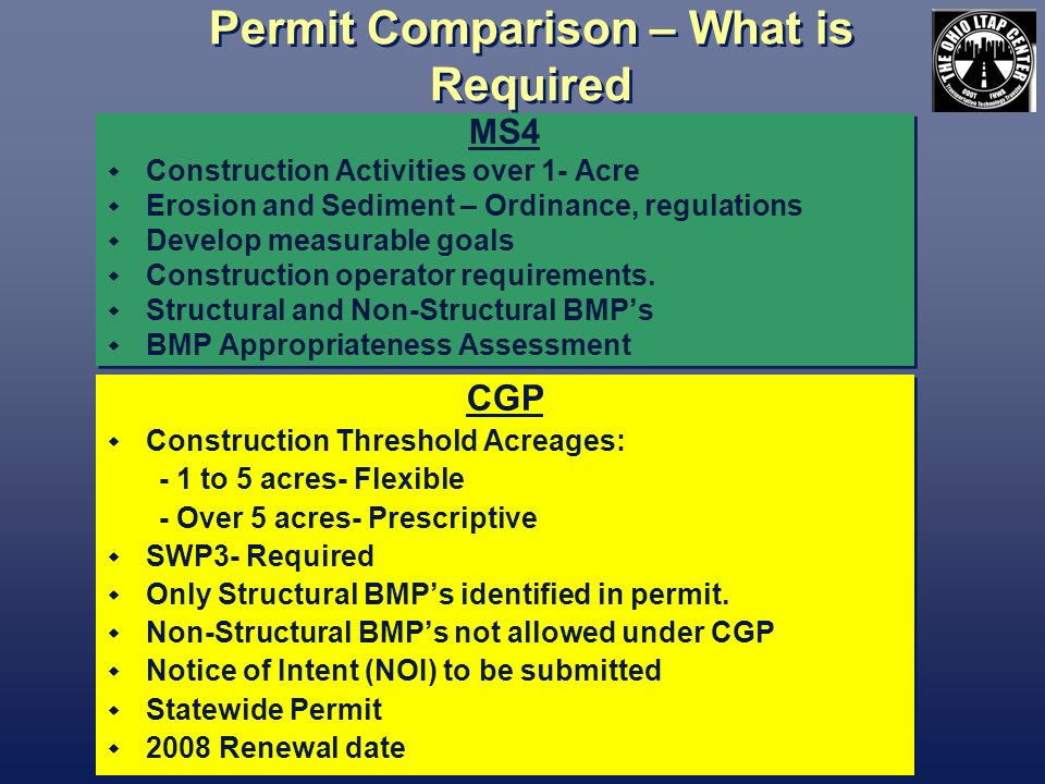 Permit Comparison – What is Required MS4 Construction Activities over 1- Acre Erosion and Sediment – Ordinance, regulations Develop measurable goals Construction operator requirements.