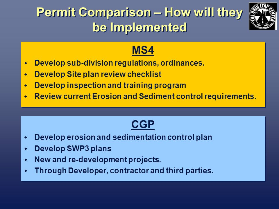 Permit Comparison – How will they be Implemented MS4 Develop sub-division regulations, ordinances.
