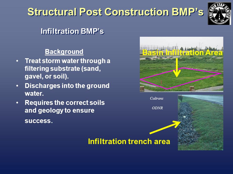 Structural Post Construction BMPs Infiltration BMPs Caltrans Background Treat storm water through a filtering substrate (sand, gavel, or soil). Discha