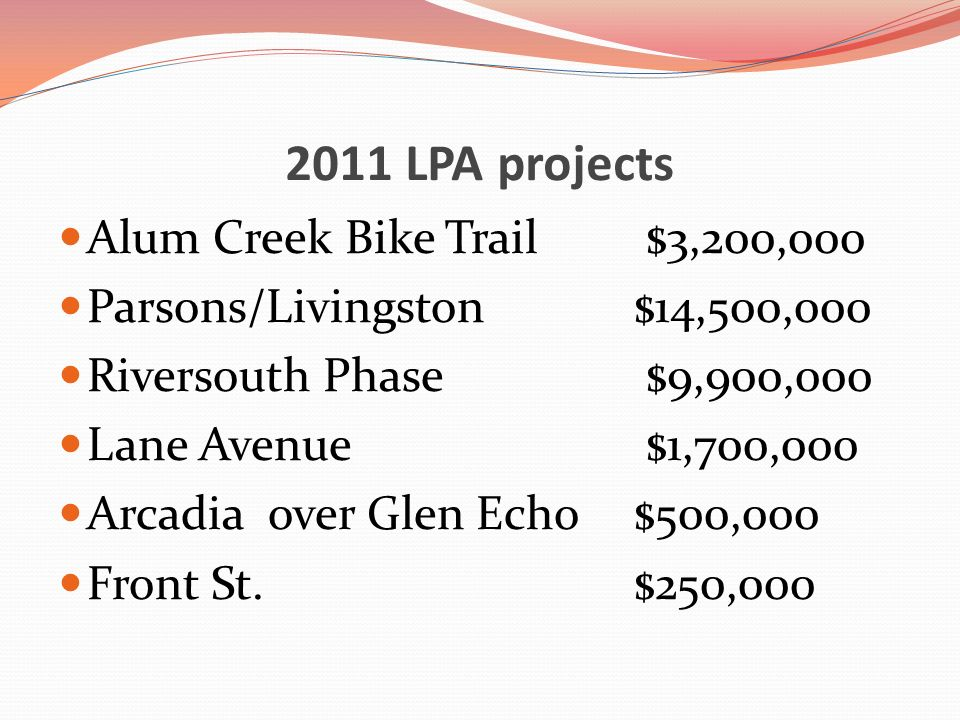 2011 LPA projects Alum Creek Bike Trail $3,200,000 Parsons/Livingston $14,500,000 Riversouth Phase $9,900,000 Lane Avenue $1,700,000 Arcadia over Glen
