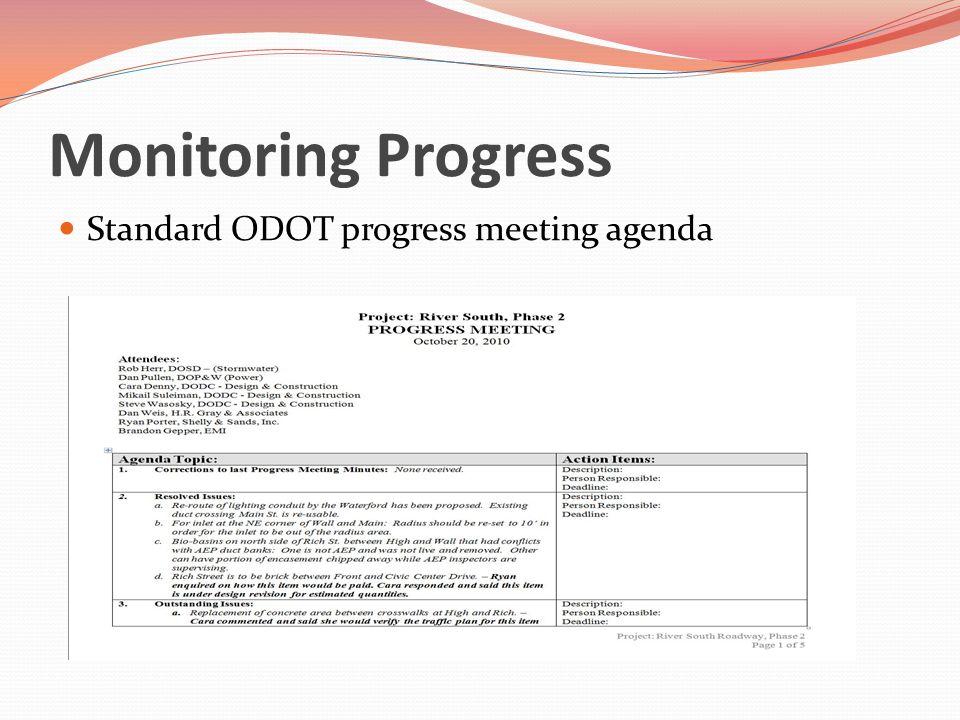 Monitoring Progress Standard ODOT progress meeting agenda