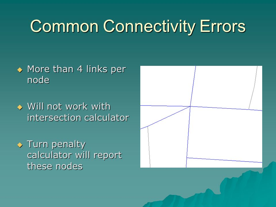 Common Connectivity Errors More than 4 links per node More than 4 links per node Will not work with intersection calculator Will not work with intersection calculator Turn penalty calculator will report these nodes Turn penalty calculator will report these nodes