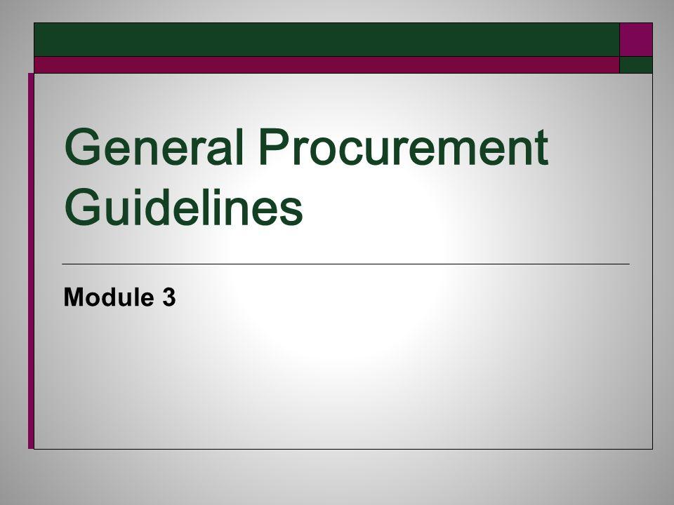 General Procurement Guidelines Module 3