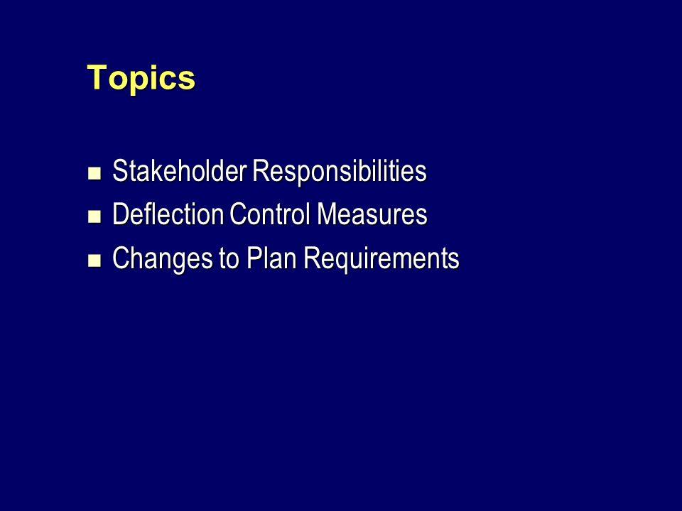 Topics Stakeholder Responsibilities Stakeholder Responsibilities Deflection Control Measures Deflection Control Measures Changes to Plan Requirements Changes to Plan Requirements
