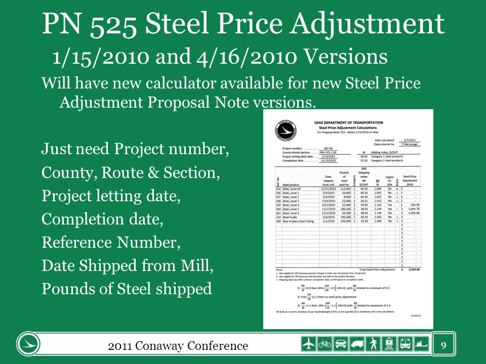 PN 525 Steel Price Adjustment 1/15/2010 and 4/16/2010 Versions Will have new calculator available for new Steel Price Adjustment Proposal Note version