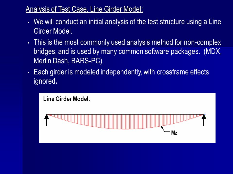 Analysis of Test Case, Line Girder Model: We will conduct an initial analysis of the test structure using a Line Girder Model. This is the most common