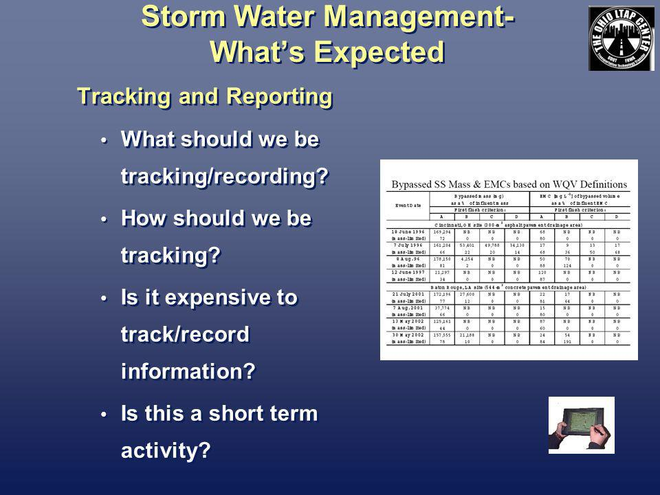 Storm Water Management- Whats Expected Tracking and Reporting What should we be tracking/recording.