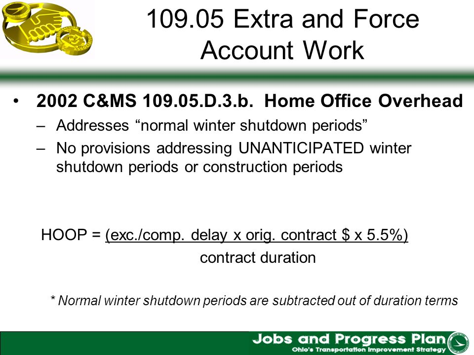 109.05 Extra and Force Account Work 2002 C&MS 109.05.D.3.b.