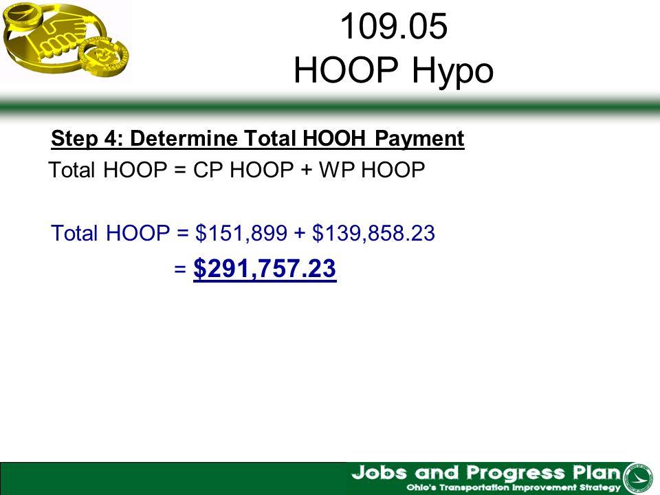 109.05 HOOP Hypo Step 4: Determine Total HOOH Payment Total HOOP = CP HOOP + WP HOOP Total HOOP = $151,899 + $139,858.23 = $291,757.23