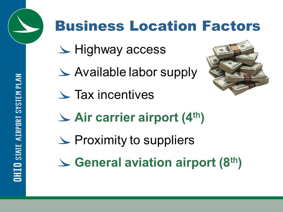 Business Location Factors Highway access Available labor supply Tax incentives Air carrier airport (4 th ) Proximity to suppliers General aviation airport (8 th )