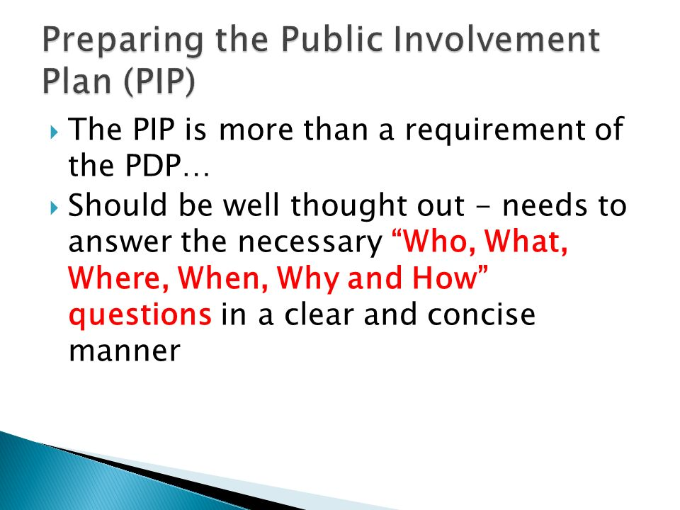 The PIP is more than a requirement of the PDP… Should be well thought out - needs to answer the necessary Who, What, Where, When, Why and How questions in a clear and concise manner