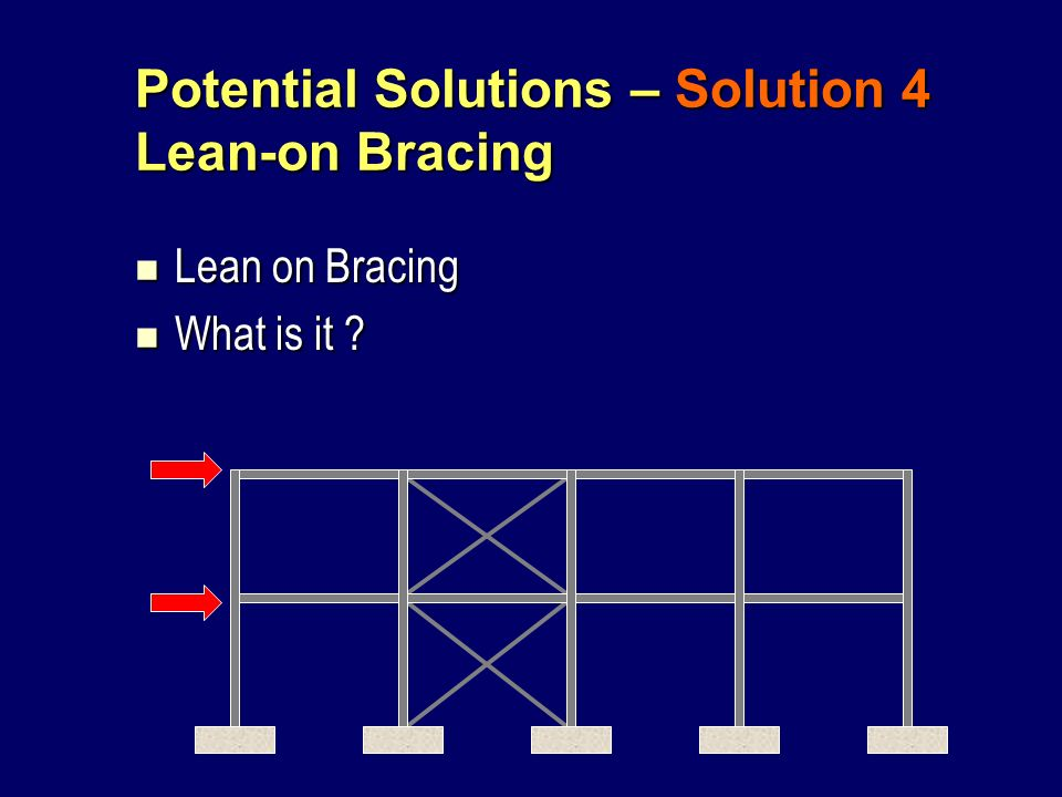 Potential Solutions – Solution 4 Lean-on Bracing Lean on Bracing Lean on Bracing What is it ? What is it ?