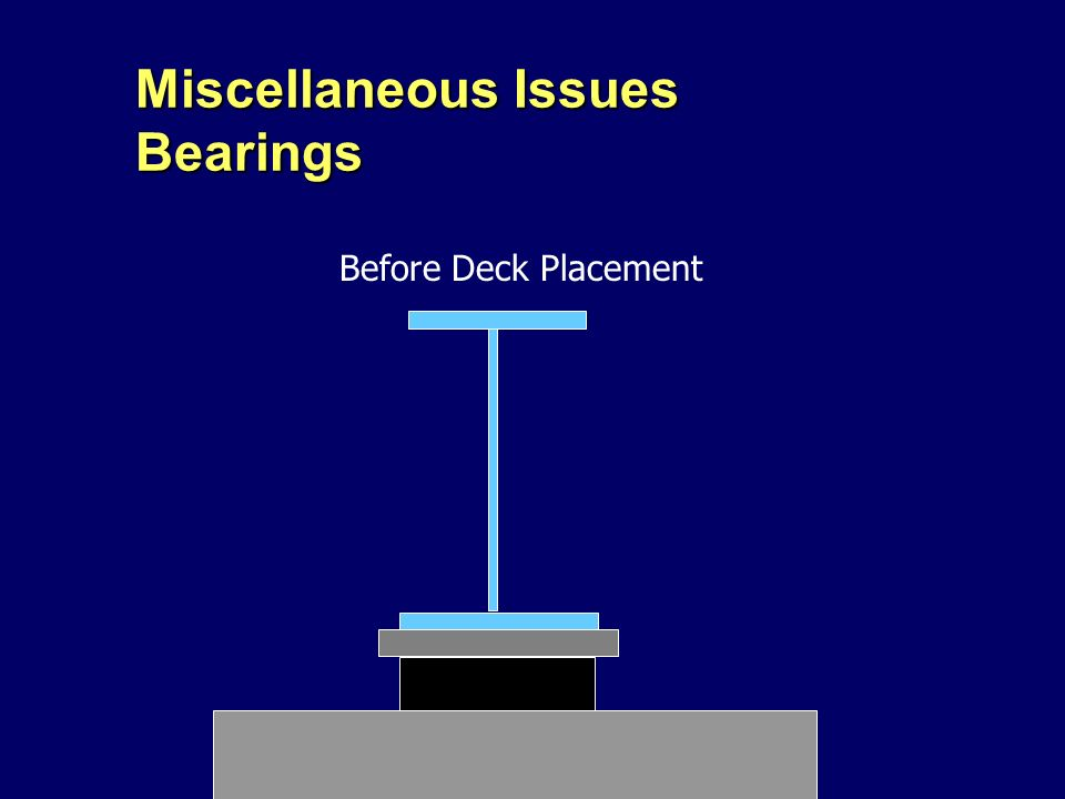 Miscellaneous Issues Bearings Before Deck Placement
