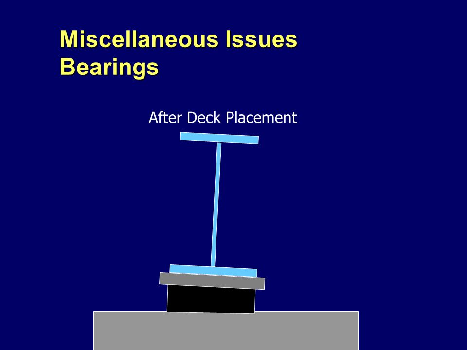 Miscellaneous Issues Bearings After Deck Placement