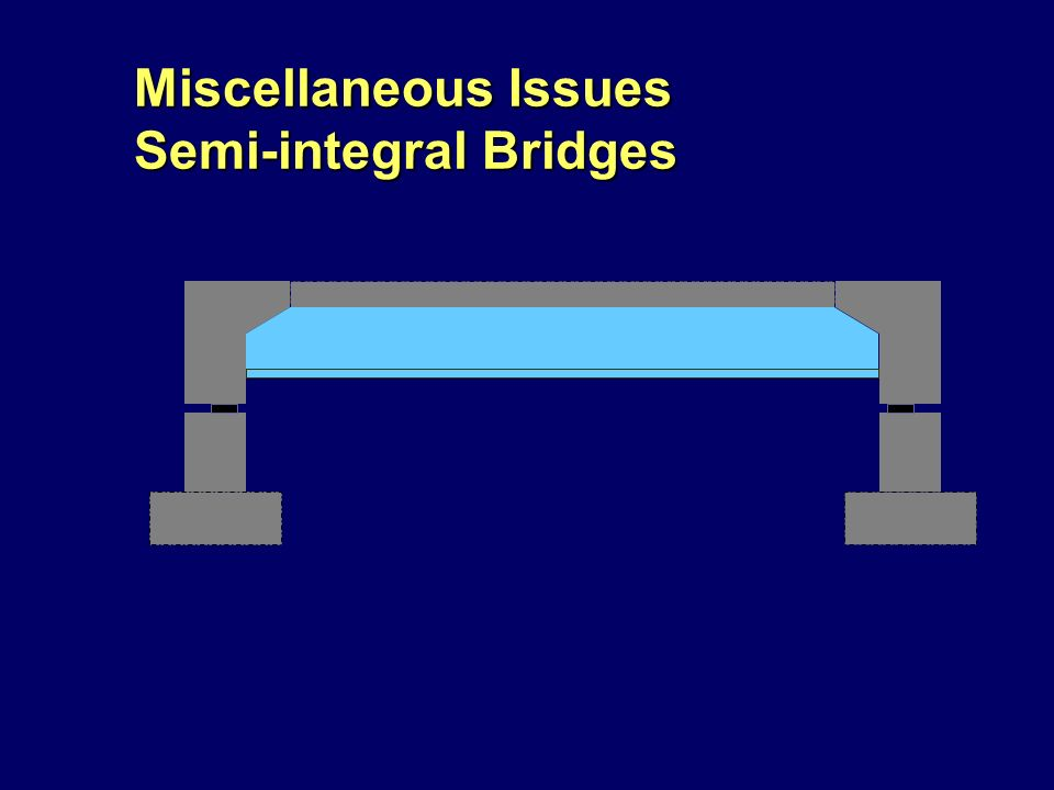 Miscellaneous Issues Semi-integral Bridges