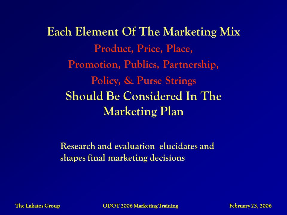 The Lakatos Group ODOT 2006 Marketing Training February 23, 2006 Each Element Of The Marketing Mix Product, Price, Place, Promotion, Publics, Partners