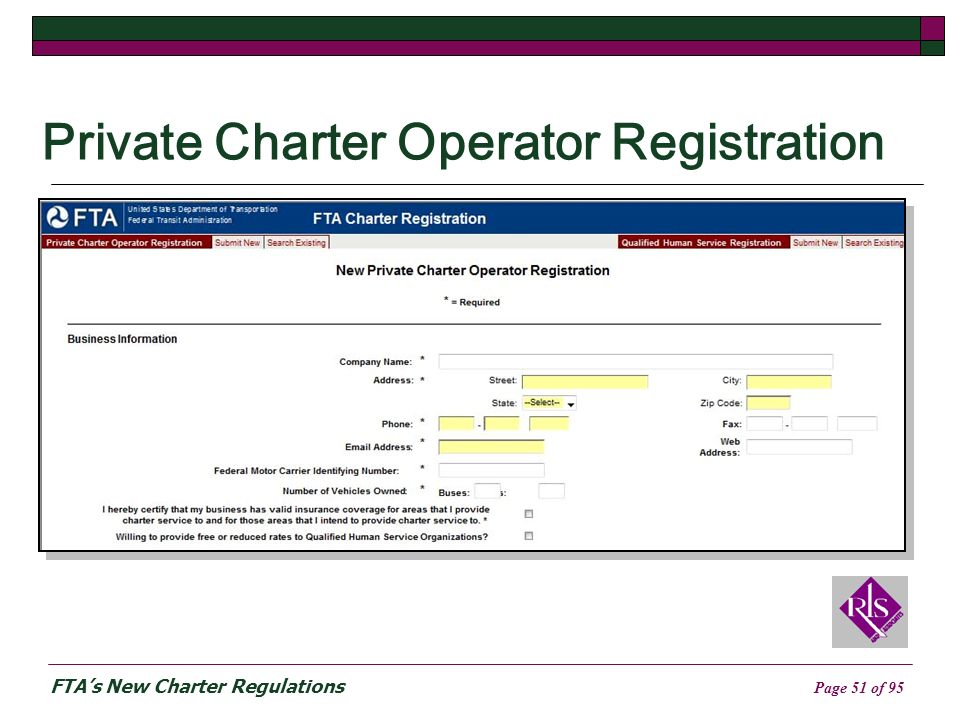FTAs New Charter Regulations Page 51 of 95 Private Charter Operator Registration