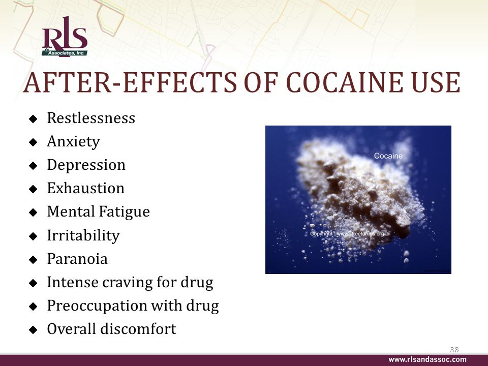 AFTER-EFFECTS OF COCAINE USE Restlessness Anxiety Depression Exhaustion Mental Fatigue Irritability Paranoia Intense craving for drug Preoccupation with drug Overall discomfort 38