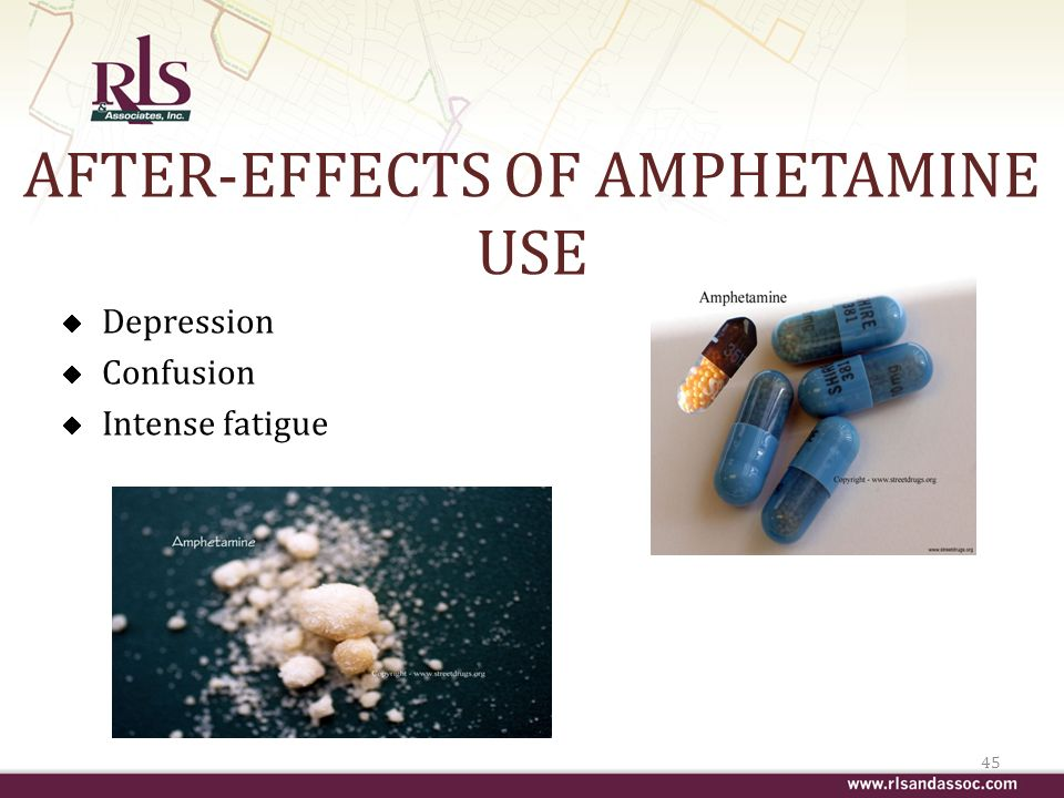 AFTER-EFFECTS OF AMPHETAMINE USE Depression Confusion Intense fatigue 45
