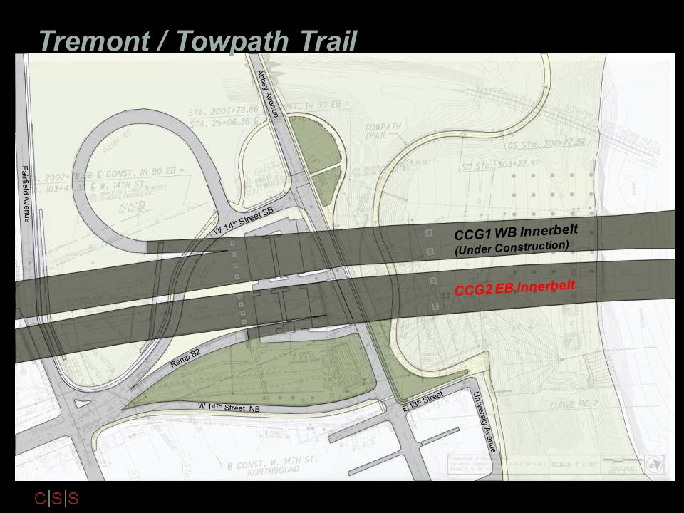 C S S Tremont / Towpath Trail CCG1 WB Innerbelt (Under Construction) E 13 th Street Abbey Avenue W 14 TH Street NB CCG2 EB Innerbelt W 14 th Street SB