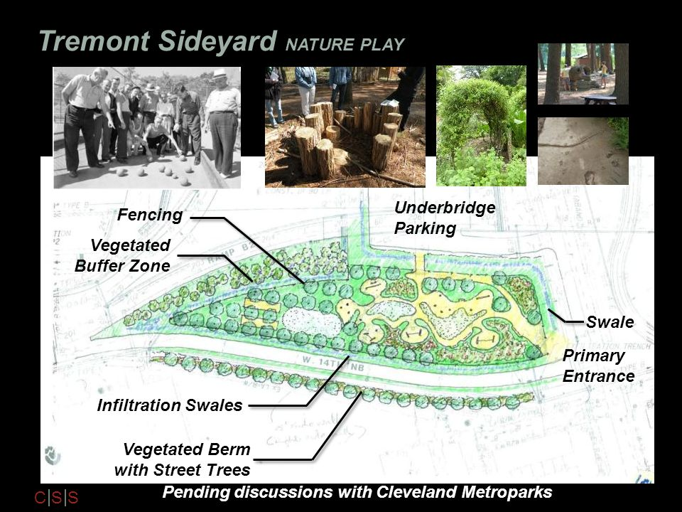 C S S Tremont Sideyard NATURE PLAY Infiltration Swales Make gray paths lighter maybe Swale Vegetated Buffer Zone Fencing Vegetated Berm with Street Tr