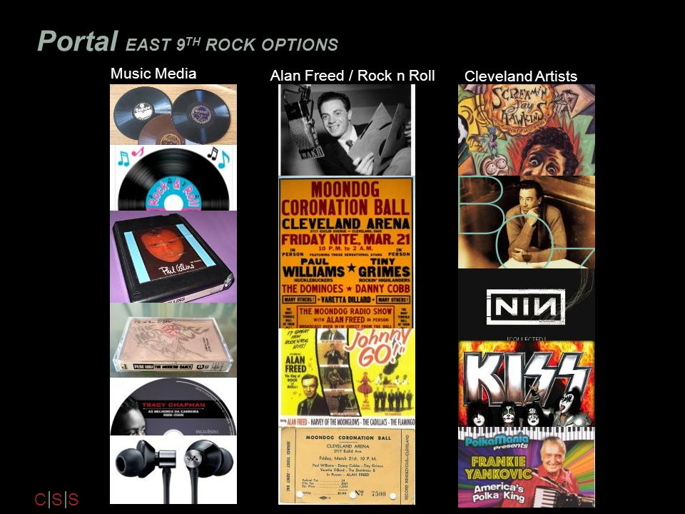 C S S Portal EAST 9 TH ROCK OPTIONS Music Media Alan Freed / Rock n Roll Cleveland Artists