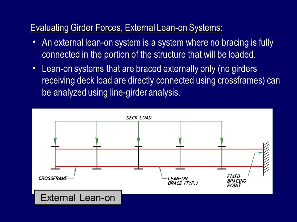 Evaluating Girder Forces, External Lean-on Systems: An external lean-on system is a system where no bracing is fully connected in the portion of the s
