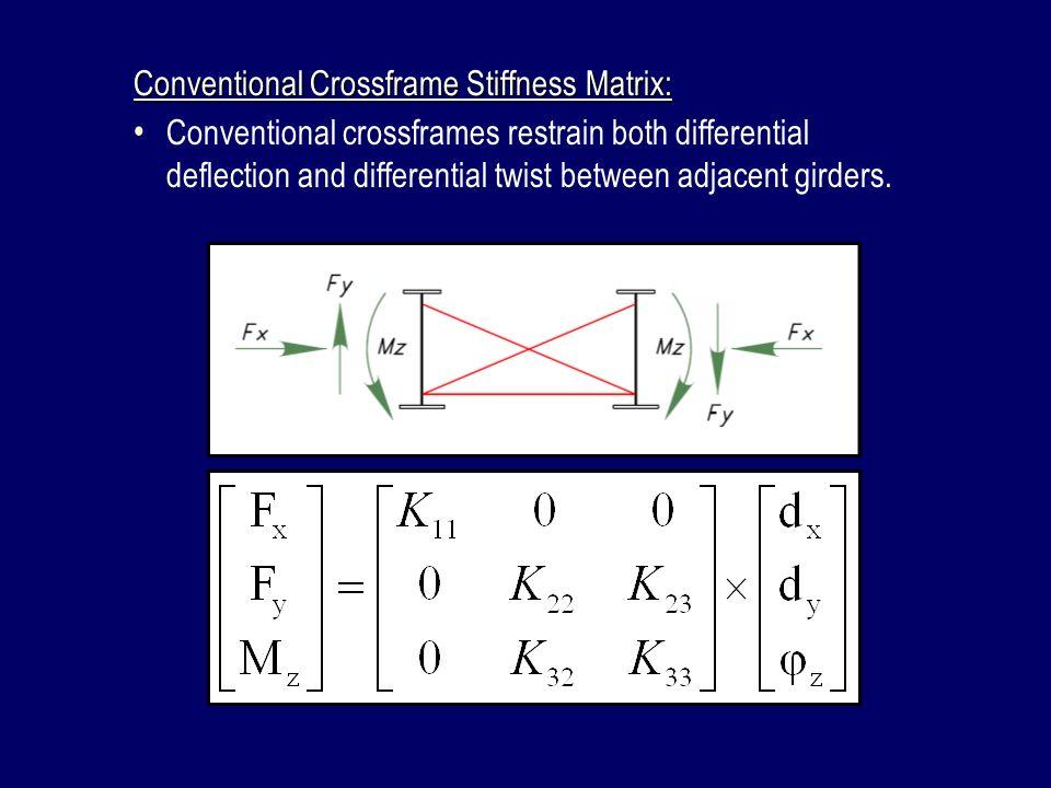 Conventional Crossframe Stiffness Matrix: Conventional crossframes restrain both differential deflection and differential twist between adjacent girde