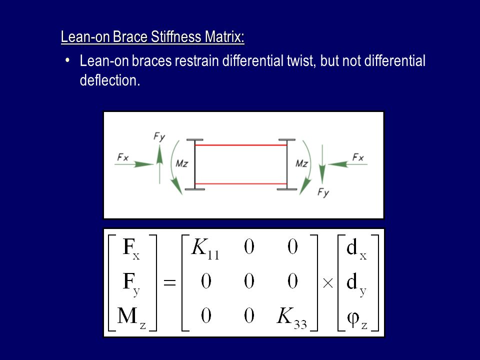 Lean-on Brace Stiffness Matrix: Lean-on braces restrain differential twist, but not differential deflection.
