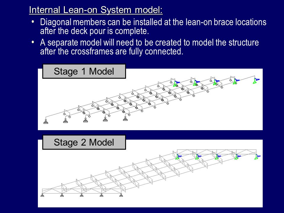 Diagonal members can be installed at the lean-on brace locations after the deck pour is complete. A separate model will need to be created to model th