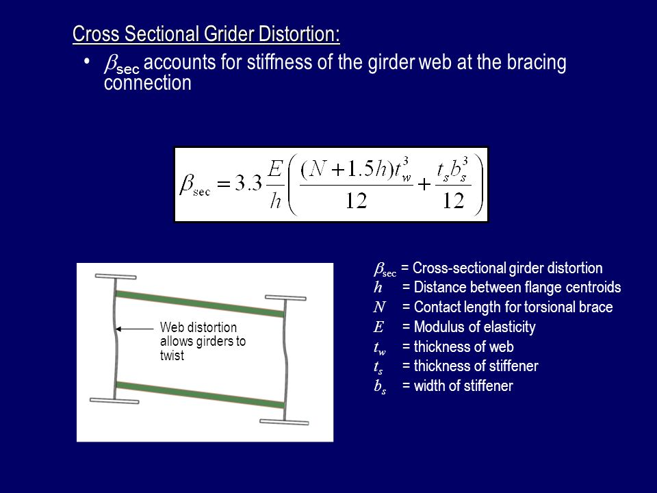 Cross Sectional Grider Distortion: sec = Cross-sectional girder distortion h = Distance between flange centroids N = Contact length for torsional brac