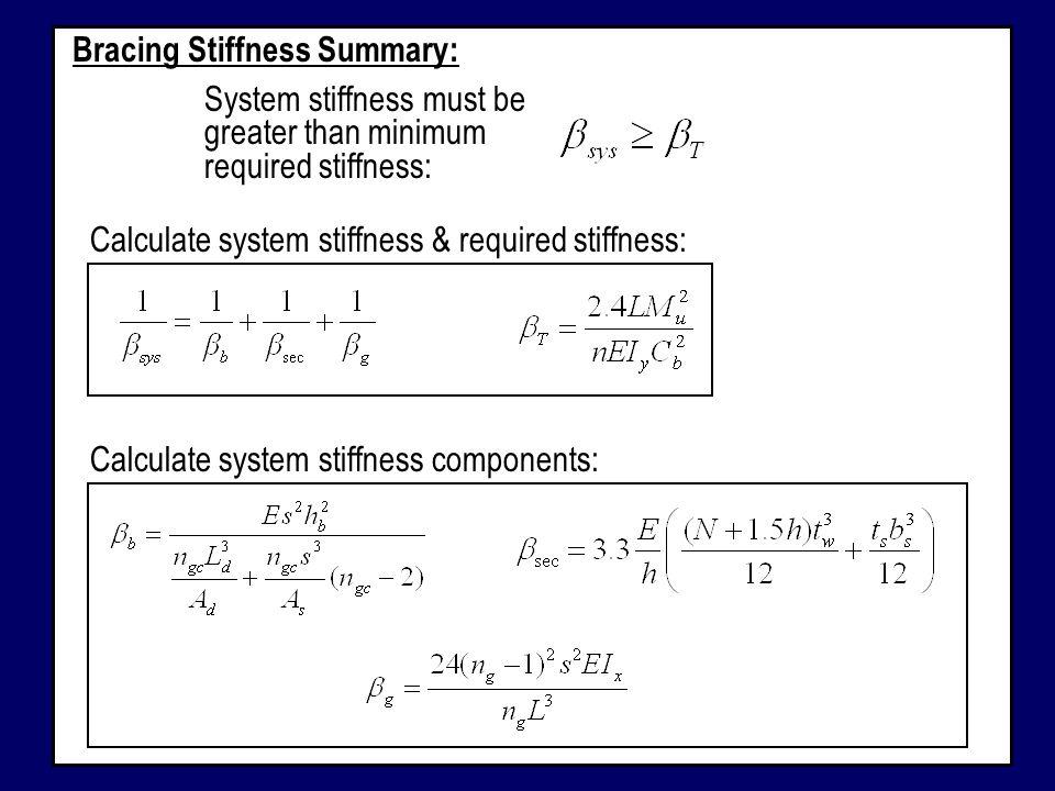 Bracing Stiffness Summary: System stiffness must be greater than minimum required stiffness: Calculate system stiffness & required stiffness: Calculat