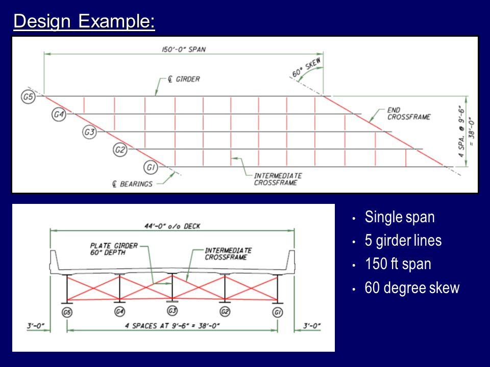 Design Example: Single span 5 girder lines 150 ft span 60 degree skew