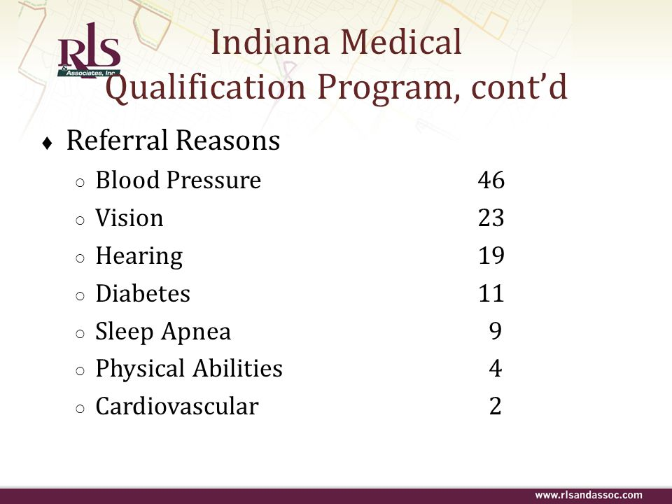 Indiana Medical Qualification Program, contd Referral Reasons Blood Pressure46 Vision23 Hearing19 Diabetes11 Sleep Apnea 9 Physical Abilities 4 Cardio
