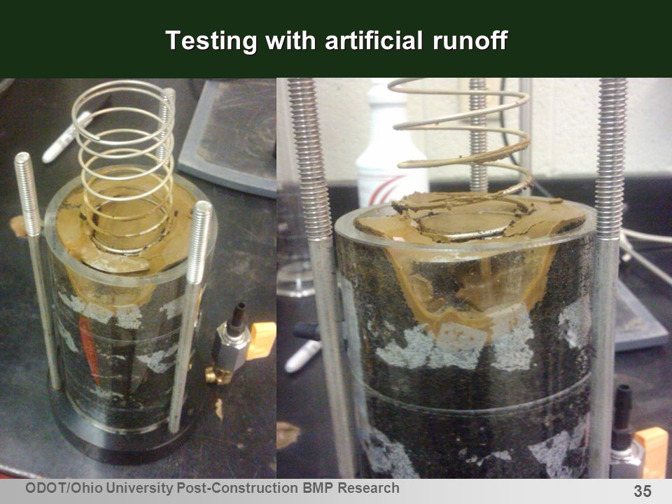 35 Testing with artificial runoff ODOT/Ohio University Post-Construction BMP Research