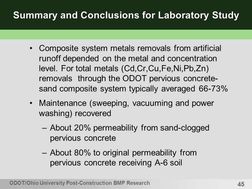 45 Summary and Conclusions for Laboratory Study Composite system metals removals from artificial runoff depended on the metal and concentration level.