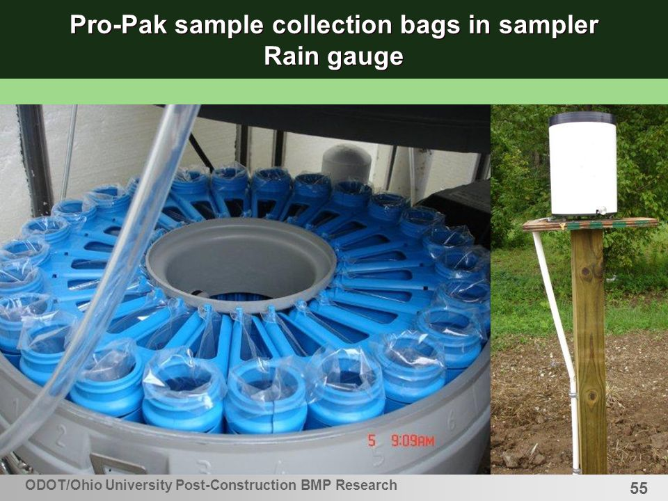 55 Pro-Pak sample collection bags in sampler Rain gauge ODOT/Ohio University Post-Construction BMP Research