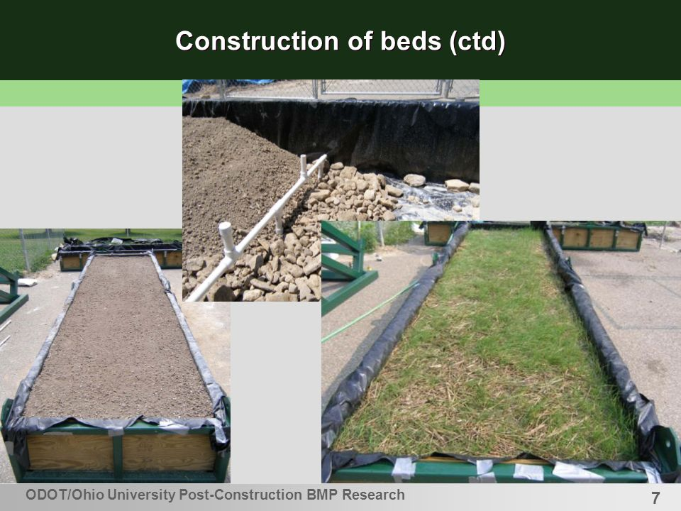 8 Grass Coverage – Standard ODOT grass seed mix (ODOT specification 659.09, Slope Mixture 3B) Seed spread at 4.66 lb/1000ft 2 (22.8g/m 2 ) ODOT/Ohio University Post-Construction BMP Research