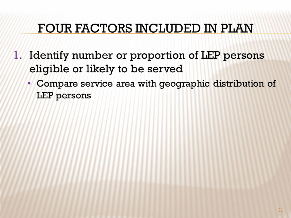 FOUR FACTORS INCLUDED IN PLAN 1.Identify number or proportion of LEP persons eligible or likely to be served Compare service area with geographic dist