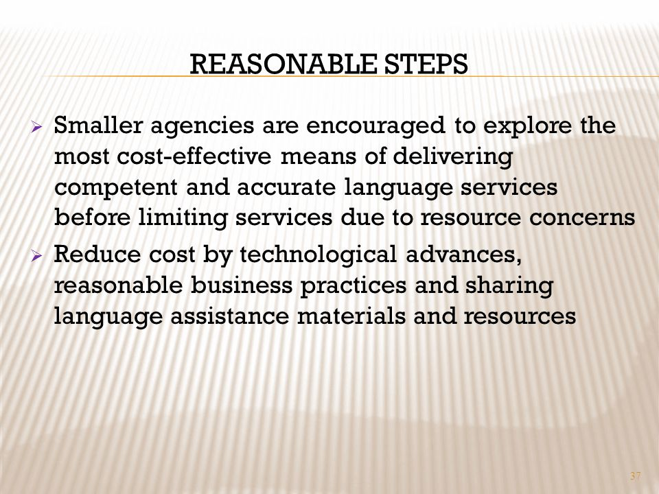 REASONABLE STEPS Smaller agencies are encouraged to explore the most cost-effective means of delivering competent and accurate language services before limiting services due to resource concerns Reduce cost by technological advances, reasonable business practices and sharing language assistance materials and resources 37