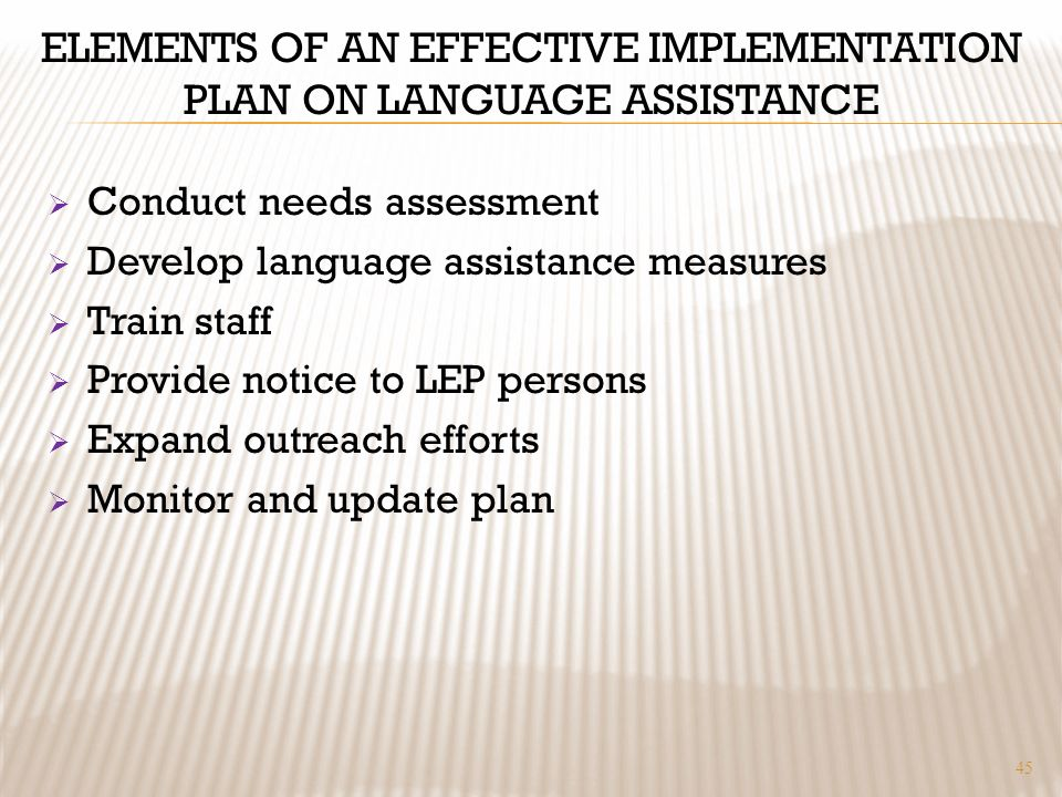 ELEMENTS OF AN EFFECTIVE IMPLEMENTATION PLAN ON LANGUAGE ASSISTANCE Conduct needs assessment Develop language assistance measures Train staff Provide notice to LEP persons Expand outreach efforts Monitor and update plan 45