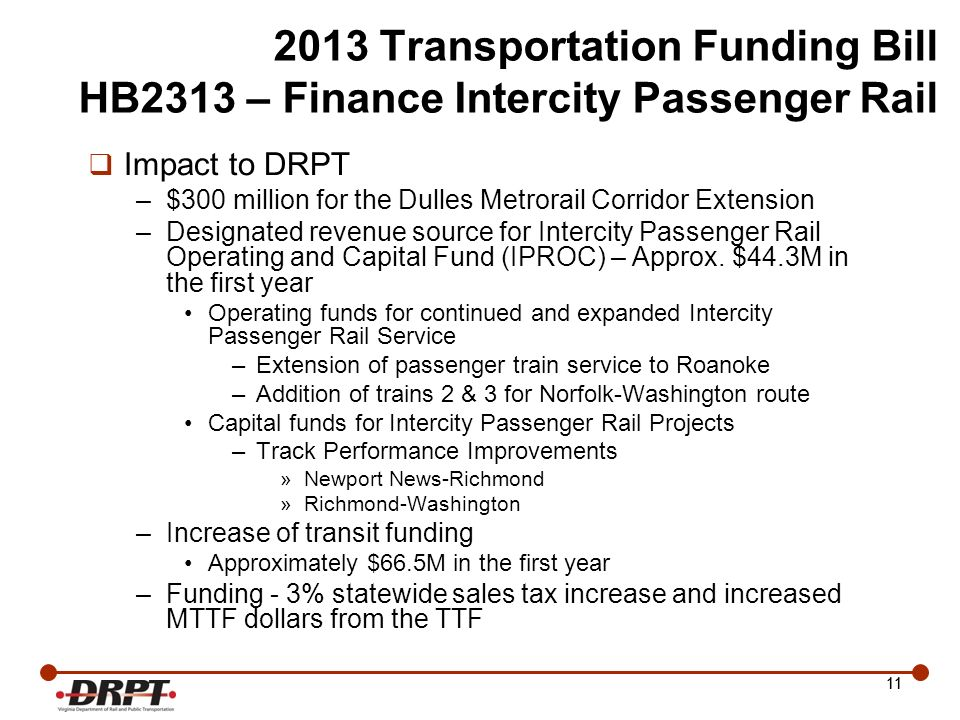 Transportation Funding Bill HB2313 – Finance Intercity Passenger Rail Impact to DRPT –$300 million for the Dulles Metrorail Corridor Extension –Designated revenue source for Intercity Passenger Rail Operating and Capital Fund (IPROC) – Approx.