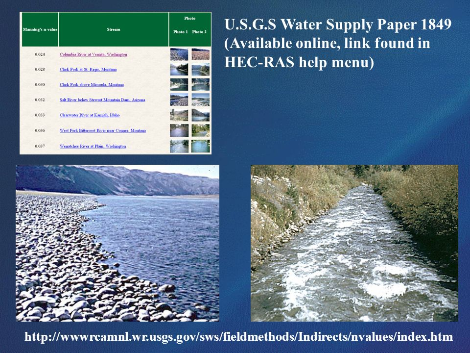 U.S.G.S Water Supply Paper 1849 (Available online, link found in HEC-RAS help menu) http://wwwrcamnl.wr.usgs.gov/sws/fieldmethods/Indirects/nvalues/in