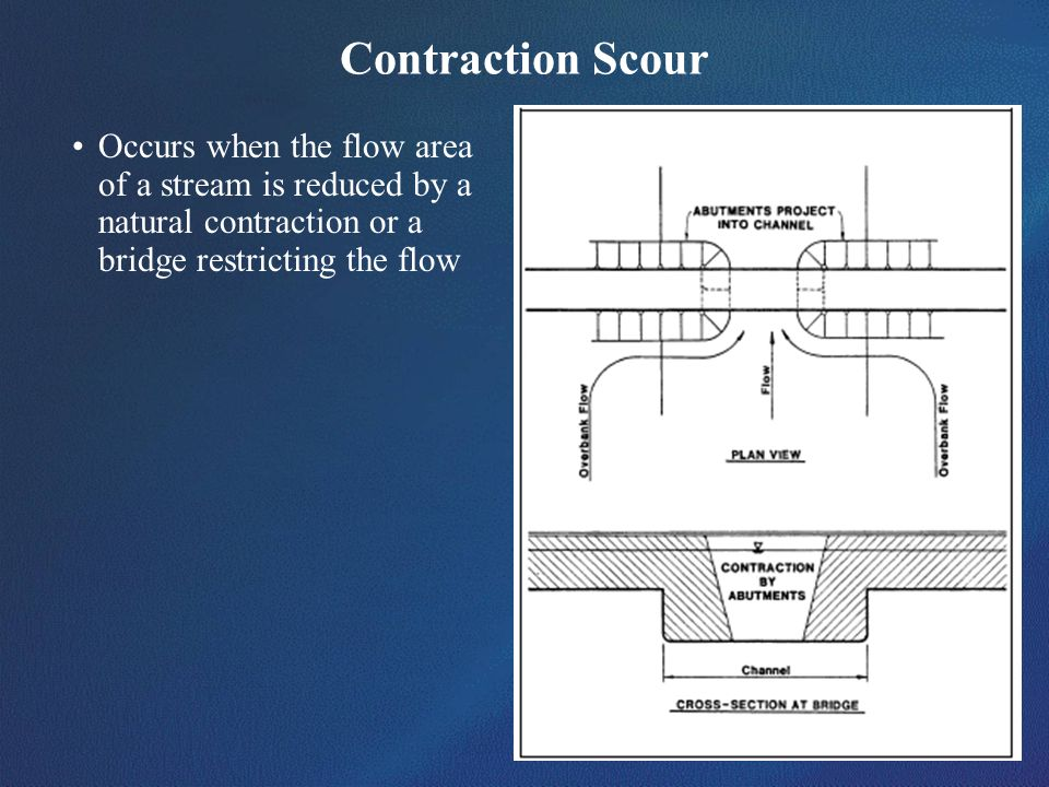 Contraction Scour Occurs when the flow area of a stream is reduced by a natural contraction or a bridge restricting the flow