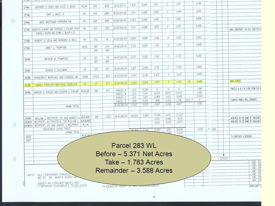 April 2007 25 Parcel 283 WL Before – 5.371 Net Acres Take – 1.783 Acres Remainder – 3.588 Acres