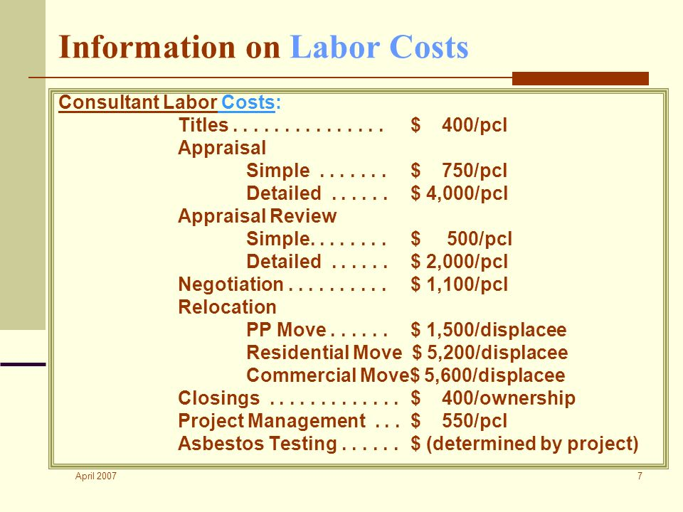 April 2007 7 Information on Labor Costs Consultant Labor Costs: Titles...............