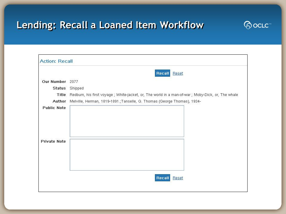 Lending: Recall a Loaned Item Workflow