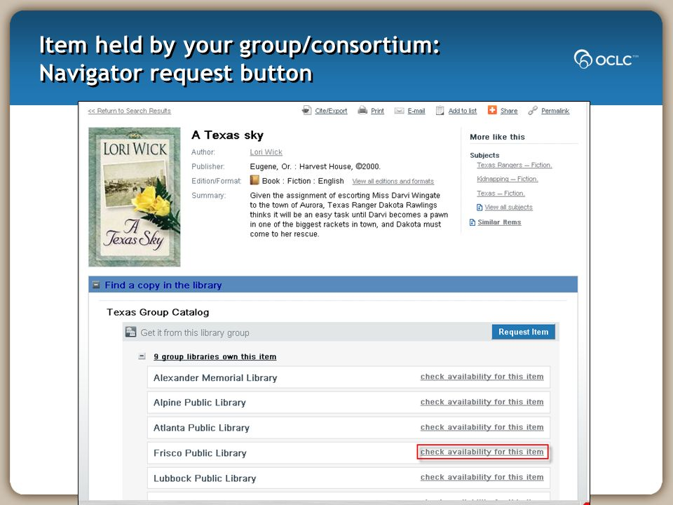 Item held by your group/consortium: Navigator request button