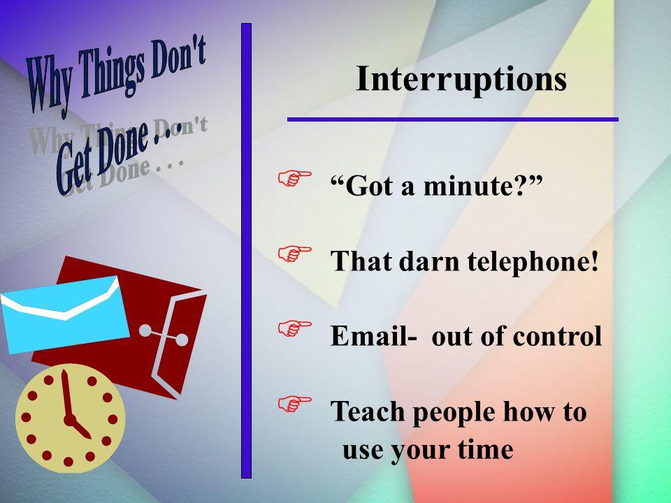 Interruptions Got a minute. That darn telephone.