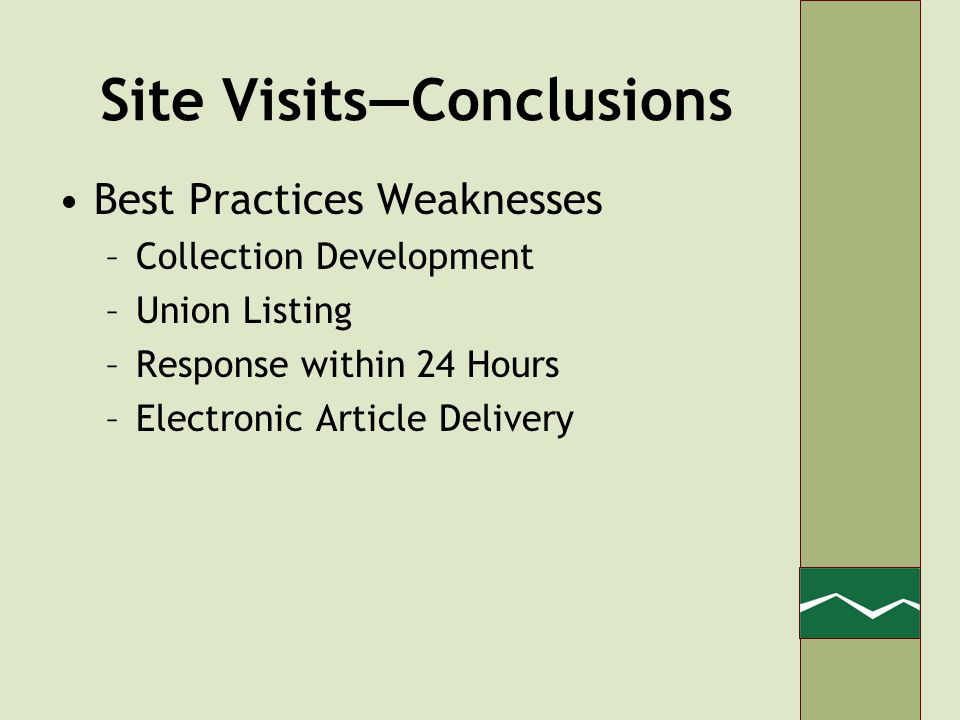 Site VisitsConclusions Best Practices Weaknesses –Collection Development –Union Listing –Response within 24 Hours –Electronic Article Delivery